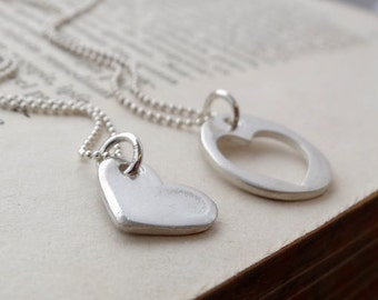 Handmade recycled fine silver mother and daughter necklace set