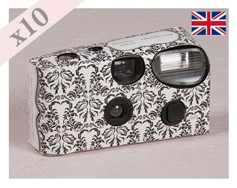 Love Bird Damask Patterned Disposable Camera Wedding Favour Single Use - Pack of 10