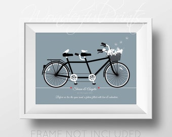 PRINTABLE DIY 11x14 Custom Wedding Print Personalised Life is a Ride Bike for Two Birds Bike Ride Tandem, Anniversary, Engagement Gift