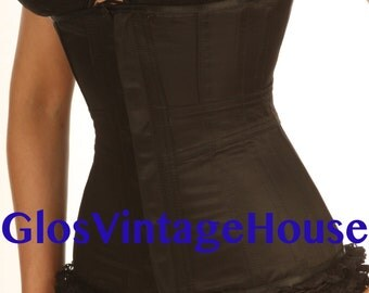 Black Satin Corset with double trimming Band corset Victorian Style Steel boned