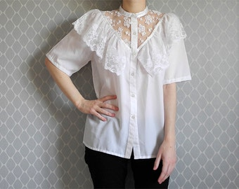 White blouse with lace details