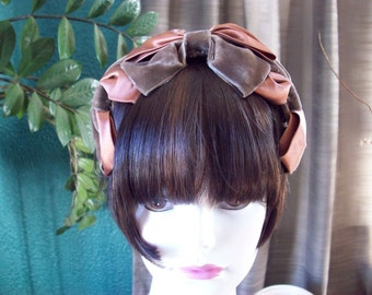 Vintage 1950's 1960's Headband Brown Velvet Copper Satin Bows 635