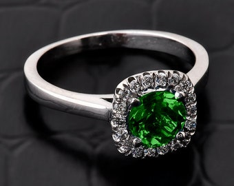 Halo ring, emerald cz and diamond halo engagement ring, engagement ring, May birthstone ring, white gold diamond ring, emerald cz halo ring
