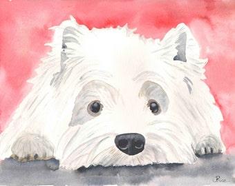 Westie Painting, Westie Watercolor, West Highland Terrier, Dog Watercolor, Dog Art, Print, 8x10, Dog Painting, Pet Portrait, Westie Portrait