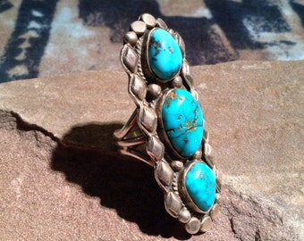 Vintage Old Pawn Turquoise & Sterling Silver Native American Ring
