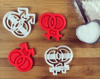Lesbian Gay symbol Cookies Cutters LGBT pride | biscuits fondant clay cheese cookie dough cutter symbols | one of a kind ooak