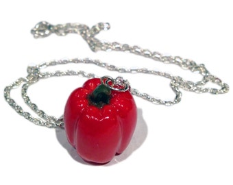 Bell Pepper Necklace/Charm - Miniature Food Jewelry - Polymer Clay Food