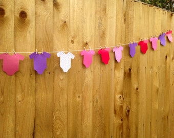 Pink & Purple Baby Grow Bunting, Perfect For Baby Showers, Birthday Parties, Photo Shoots or Home Decoration