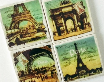 Paris Postcard Coasters - Eiffel Tower - Paris - Arc de Triumphe - Travel Coasters - Valentines - Housewarming - Set of 4