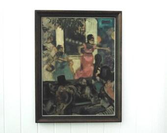 Pick up only...Degas print vintage wood frame Aux Ambassadeurs