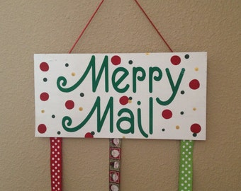 Merry Mail Hanging Christmas Card Display With Mini Clips Included