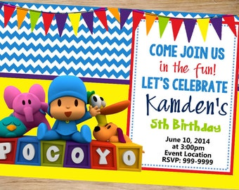 Pocoyo Birthday Invitation Customizable