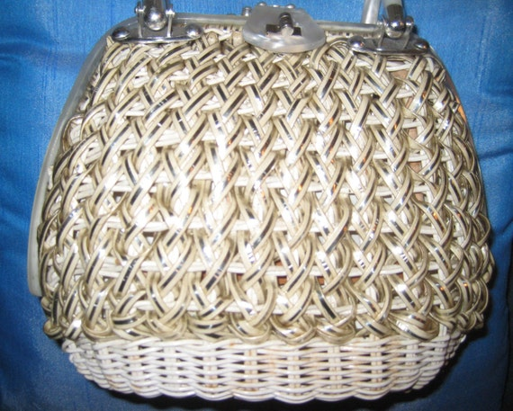 Sparkly Woven Bag with Lucite Trim by Stylecraft of Miami