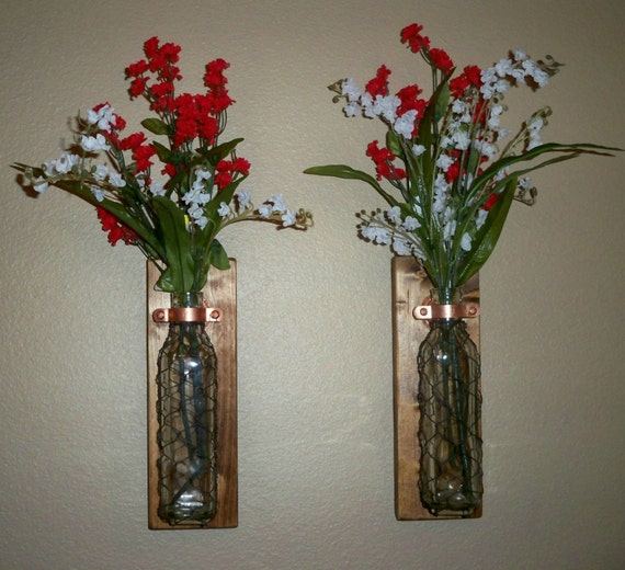 Wire Kitchen Wall Decor : Chicken wire wall decor bathroom hanging vase by