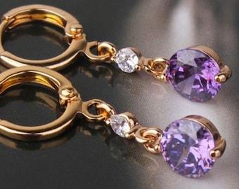Purple sapphire 18k gold filled fit dangle earrings
