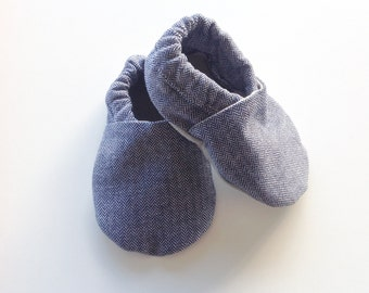Blue Herringbone Baby Shoes