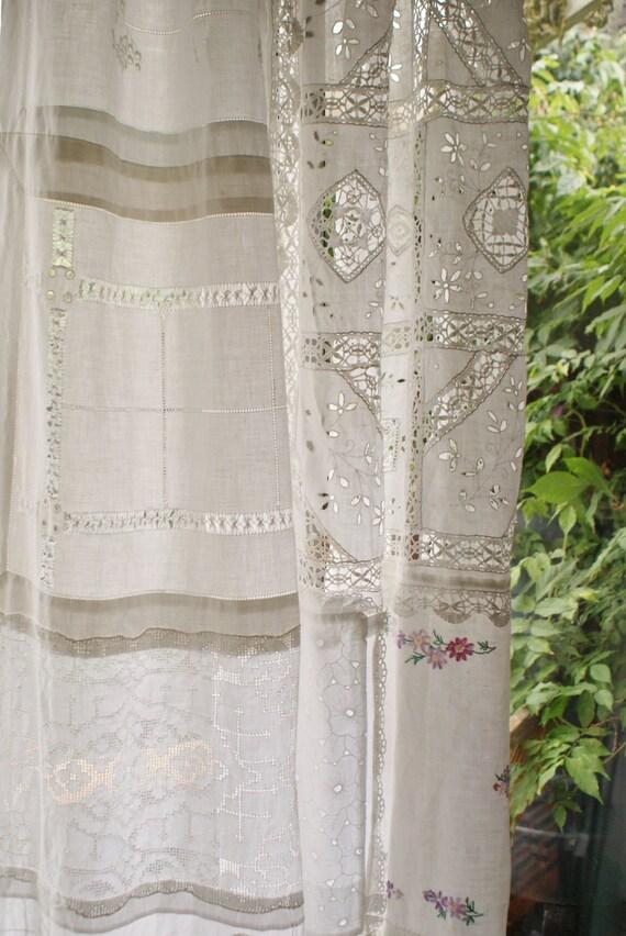 Cortina de encaje vintage patchwork gitana por circleofearth for Cortinas vintage