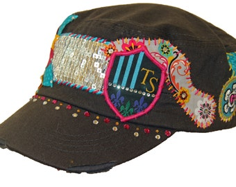 Hand-stitched layered flower design with Swarovski crystals on charcoal gray cadet hat
