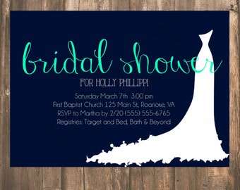 White Wedding Dress Bridal Shower Invitation- Bridal Gown Shower simple Navy and teal bridal shower