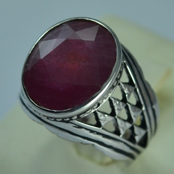 Awesome Sterling Silver 925 Natural Ruby Men Ring Genuine