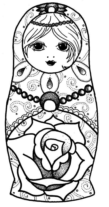 babushka coloring pages | Items similar to A4 CARD PRINT Russian Doll dotwork ...
