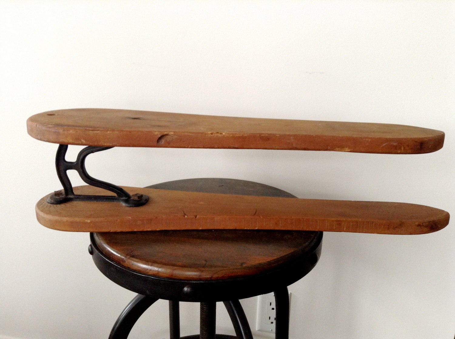 vintage sleeve ironing board wood and cast iron two shelf. Black Bedroom Furniture Sets. Home Design Ideas