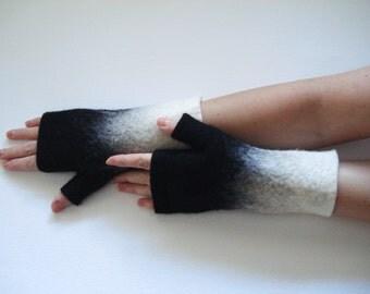 Felted mittens, felt fingerless gloves