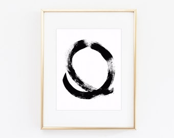 Black and White Abstract Brush Stroke Print | 8x 10 Digital Print | Instant Download