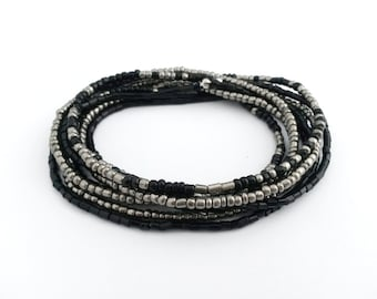 Black and grey stretch wrap beaded bracelet, multi strand seed bead bracelet, boho bracelet, black and grey seed bead bracelet