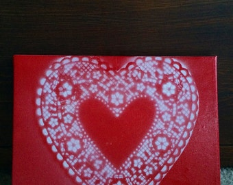Valentines Day heart done in spray paint on canvas- 8x10inches