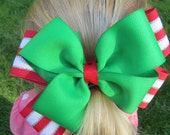 Green, White & Red Christmas Holiday Hair Bow, christmas hair clip, girls hair accessory, alligator clip, grosgrain ribbon, green ribbon
