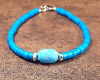 Blue glass and wood bracelet