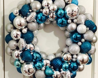 Turquoise and Silver Ornament Wreath ath