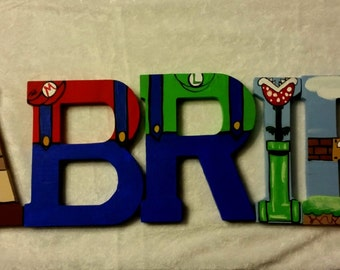Handpainted Super Mario Brothers Character Letters