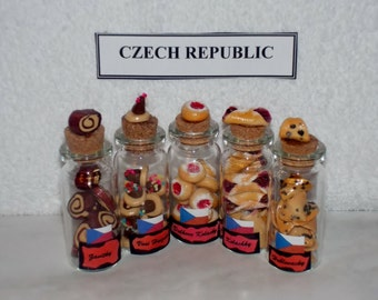 Set of 5 MINIATURE Cookies for the CZECH REPUBLIC Keepsake - One of the Anndora Collections of International Polymer Clay Cookie Sets.