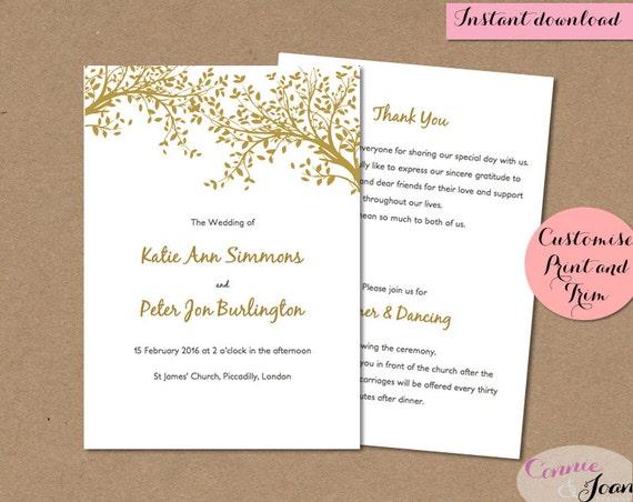 DIY Wedding Program Printable Template Folded By ConnieAndJoan