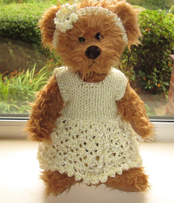 Knitting Clothes For Teddy Bears : Teddy bear clothes hand knitted crochet cream by
