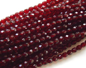 25 6mm Ruby Red, Garnet Czech glass beads, firepolished, faceted round beads, C6425