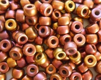 50 6mm Czech Multi melallic copper pony roller beads, large hole metallic glass crow beads, C8750