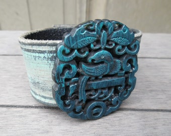 Turquoise Silver Black Phoenix Bird Hand-Carved Chinese Jade Pendant Upcycled Leather Cuff Bracelet