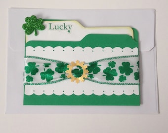 St Patrick's Day Card in green and White
