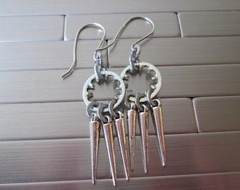 Industrial earrings...........metal hardware and spikes