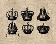 INSTANT DOWNLOAD Antique Crown Images Vintage Printable Crown Set Digital Sheet Download Iron On Transfer 300dpi HQ