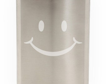 Cute Smiling Happy Face Etched Hip Flask 8oz