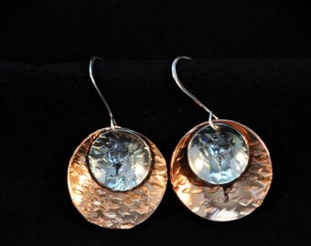 Copper and silver hammered and domed disc earrings