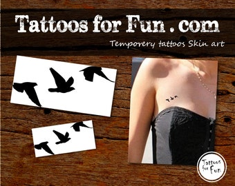 Birds Temporary Tattoo - Flying Birds Fake Tattoo-Cute Birds Tattoos-Stick On Tattoos- Bird Print temporary tattoo sticker- Choose Your Pack