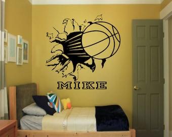 Custom Basketball Bursting Through Wall Decal   Custom Sports Decal, Basketball  Decal, Custom Wall