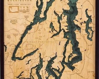 Puget Sound, Washington Wood Map,  24.5x31 - Large