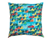 Contemporary Colourful Pillow Cushion made from B-Goods of UK Fabric – Greenland Multi – Pretty log cabins & pine trees on a blue backdrop
