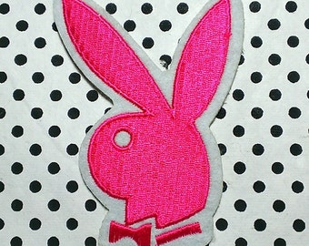 """Vintage Pink ''Classic Playboy Bunny"""" Embroidered Iron -On Patch W/Felt Border 3 1/4'' X 2 1/2''"""